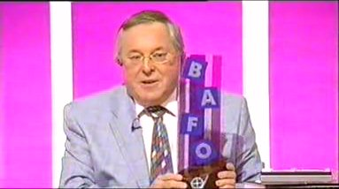 Richard Whiteley waves about the BAFO award